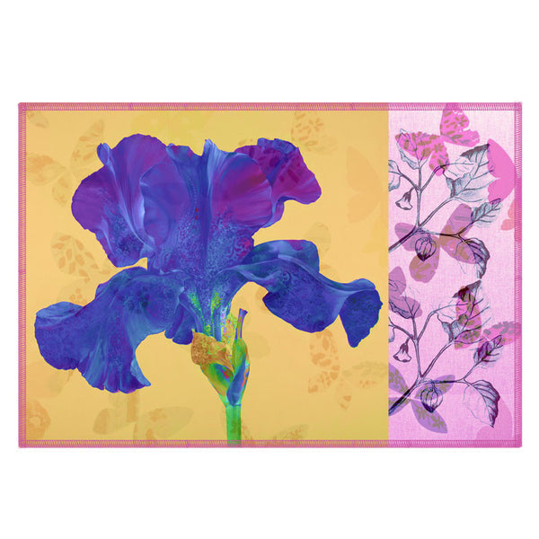Leaf Designs Lemon & Blue Flora Table Mats - Set Of 6