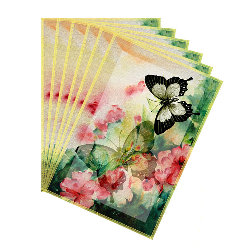 Leaf Designs Light Yellow Butterfly Table Mats - Set Of 6