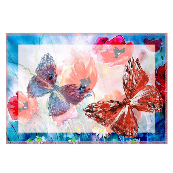 Leaf Designs Light Blue & Peach Butterfly Table Mats - Set Of 6
