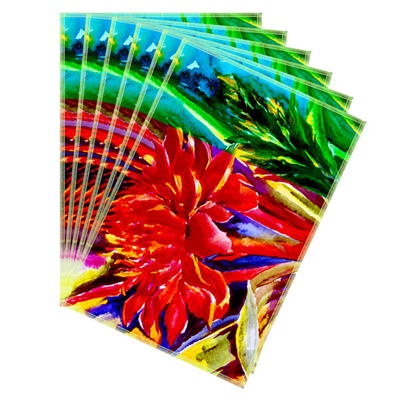 Leaf Designs Bright Red Flora Table Mats - Set Of 6