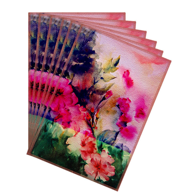 Leaf Designs Pink & Bright Green Flora Table Mats - Set Of 6