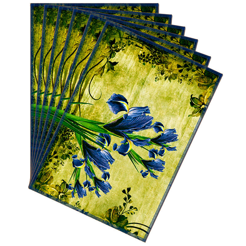 Leaf Designs Blue & Green Vintage Table Mats - Set Of 6