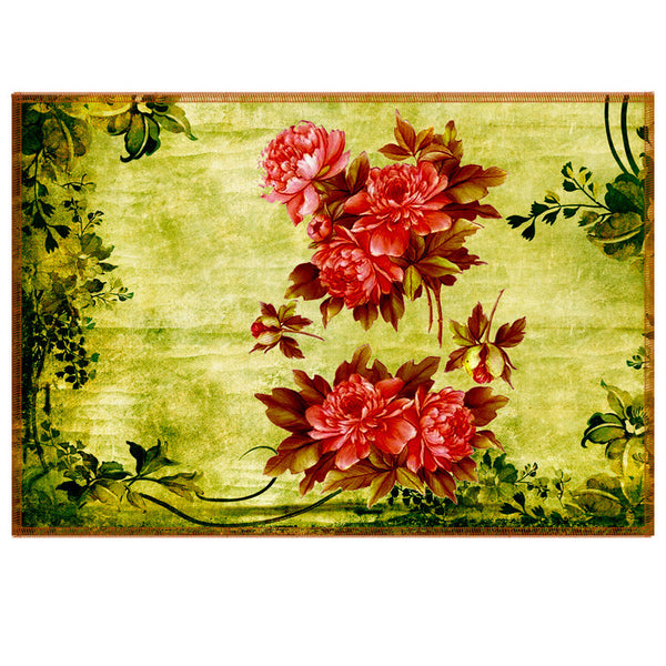 Leaf Designs Red & Green Vintage Table Mats - Set Of 6
