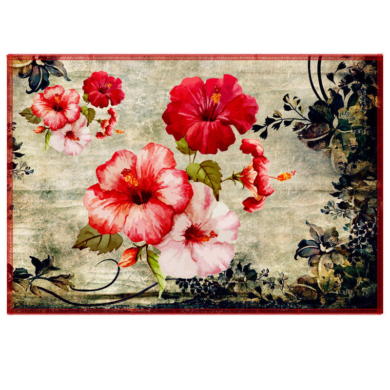 Leaf Designs Fiery Red Vintage Table Mats - Set Of 6
