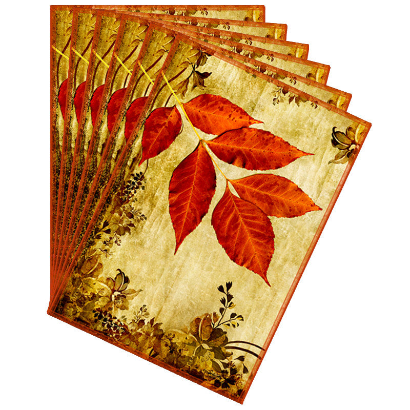 Leaf Designs Bright Red & Yellow Vintage Table Mats - Set Of 6
