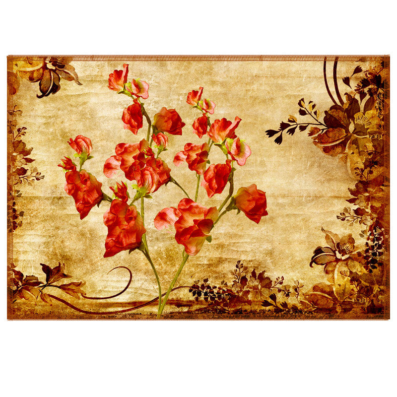 Leaf Designs Red & Sepia Vintage Table Mats - Set Of 6