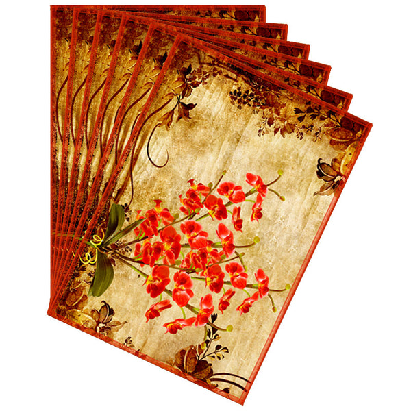 Leaf Designs Orange & Sepia Vintage Table Mats - Set Of 6