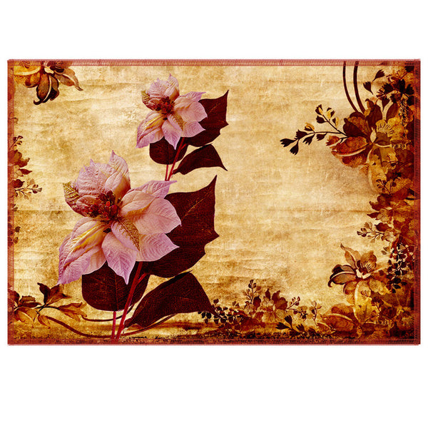 Leaf Designs Pale Pink & Sepia Vintage Table Mats - Set Of 6
