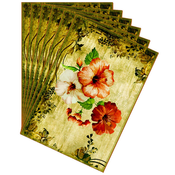 Leaf Designs Green & Yellow Vintage Table Mats - Set Of 6