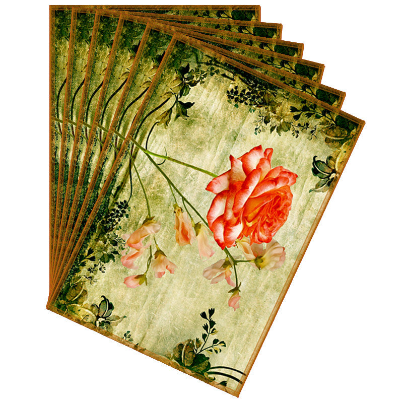 Leaf Designs Sap Green & Orange Vintage Table Mats - Set Of 6