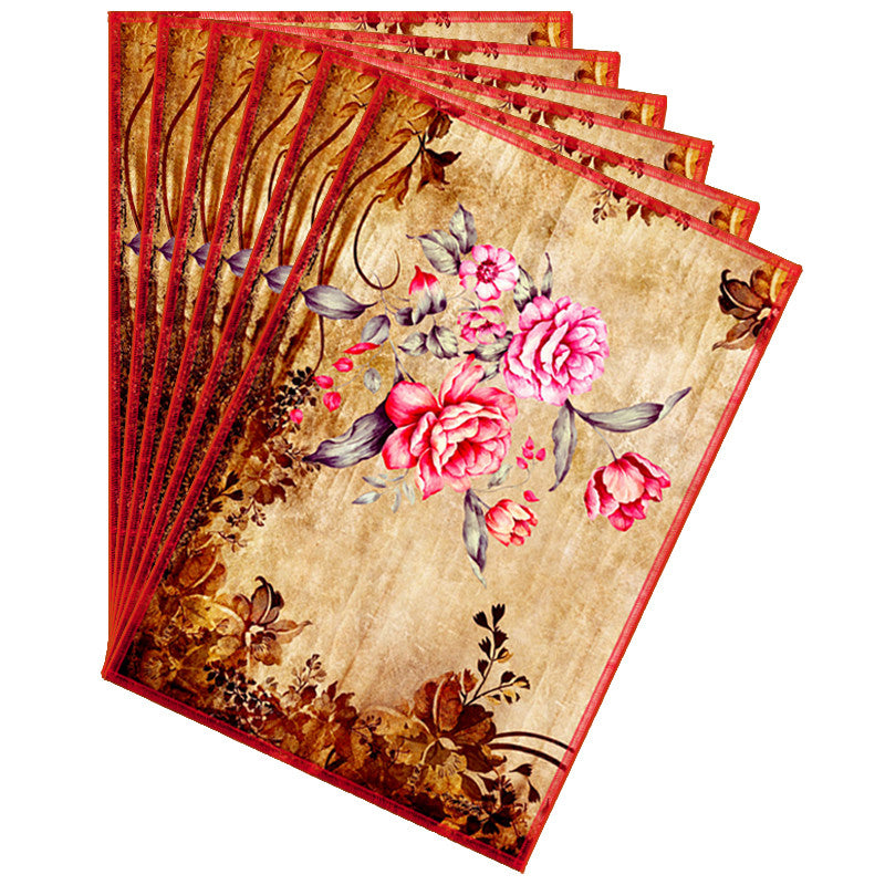 Leaf Designs Pink & Brown Vintage Table Mats - Set Of 6