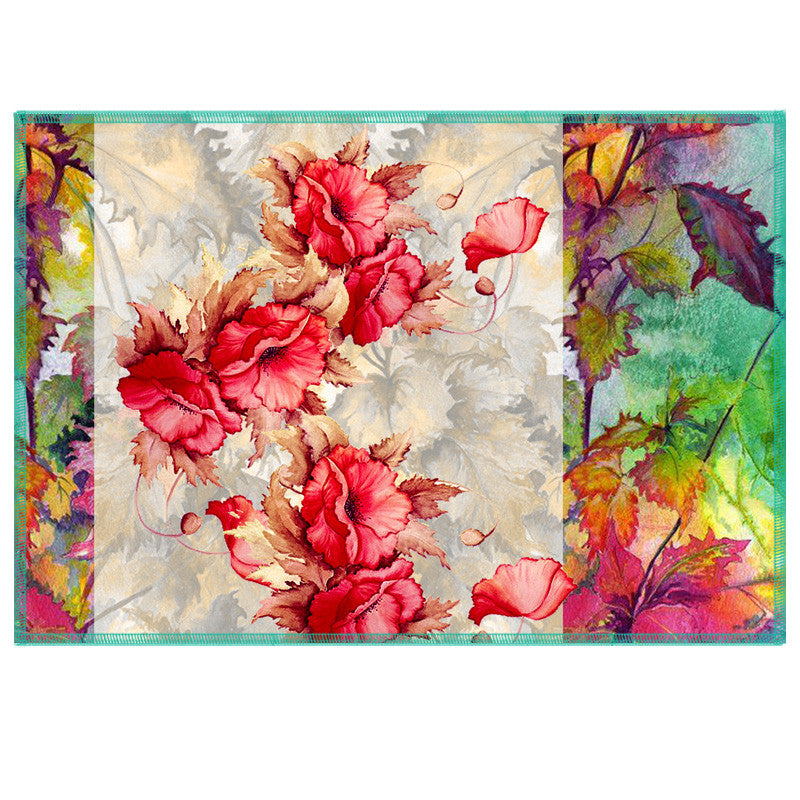 Leaf Designs Red & Multi Summer Floral Table Mats - Set Of 6