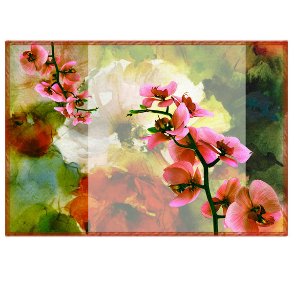 Leaf Designs Pale Pink & Green Summer Floral Table Mats - Set Of 6