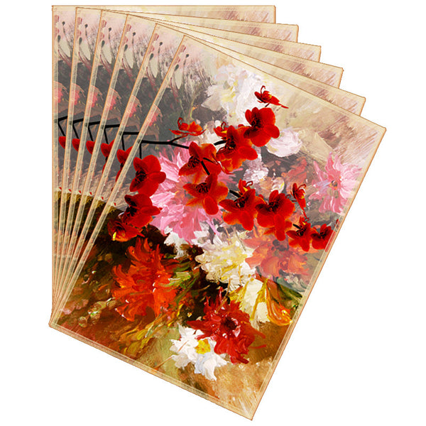 Leaf Designs Orange & Mustard Summer Floral Table Mats - Set Of 6