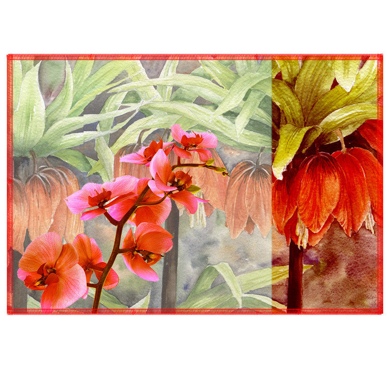 Leaf Designs Soft Orange Summer Floral Table Mats - Set Of 6