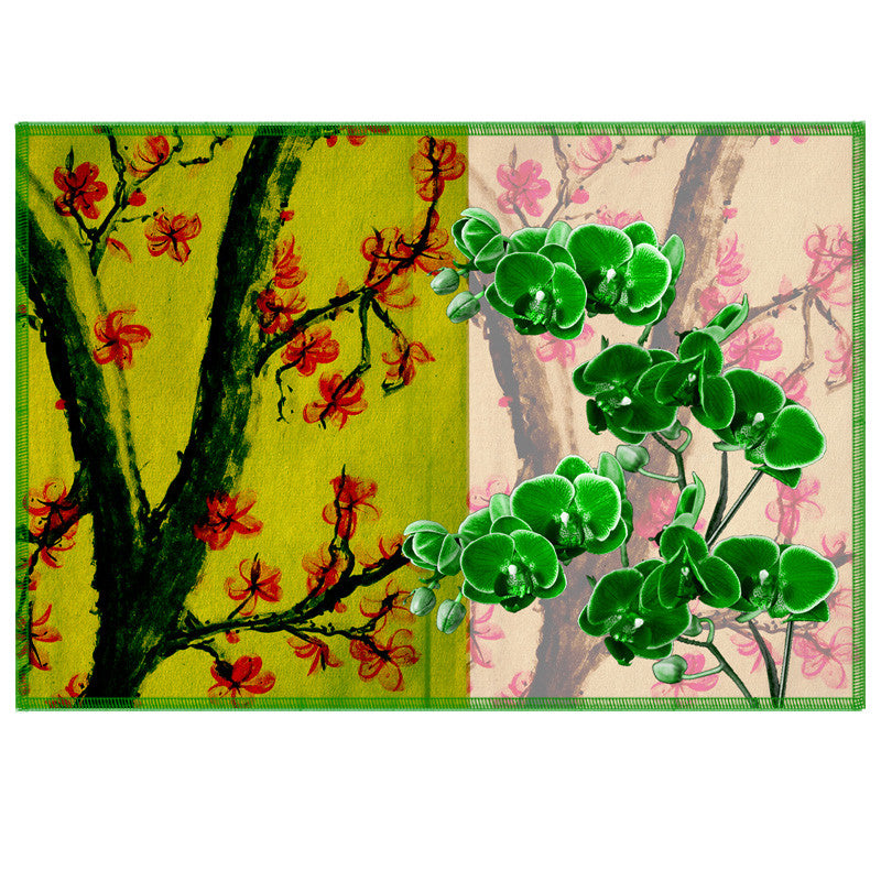 Leaf Designs Bright Green Summer Floral Table Mats - Set Of 6