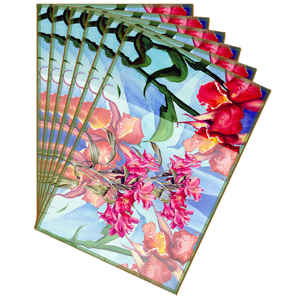 Leaf Designs Light Blue & Red Summer Floral Table Mats - Set Of 6