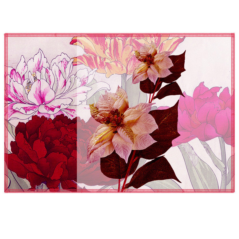 Leaf Designs Pale Pink & Deep Red Summer Floral Table Mats - Set Of 6