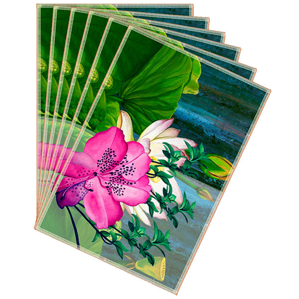 Leaf Designs Green Tones & Pink Summer Floral Table Mats - Set Of 6