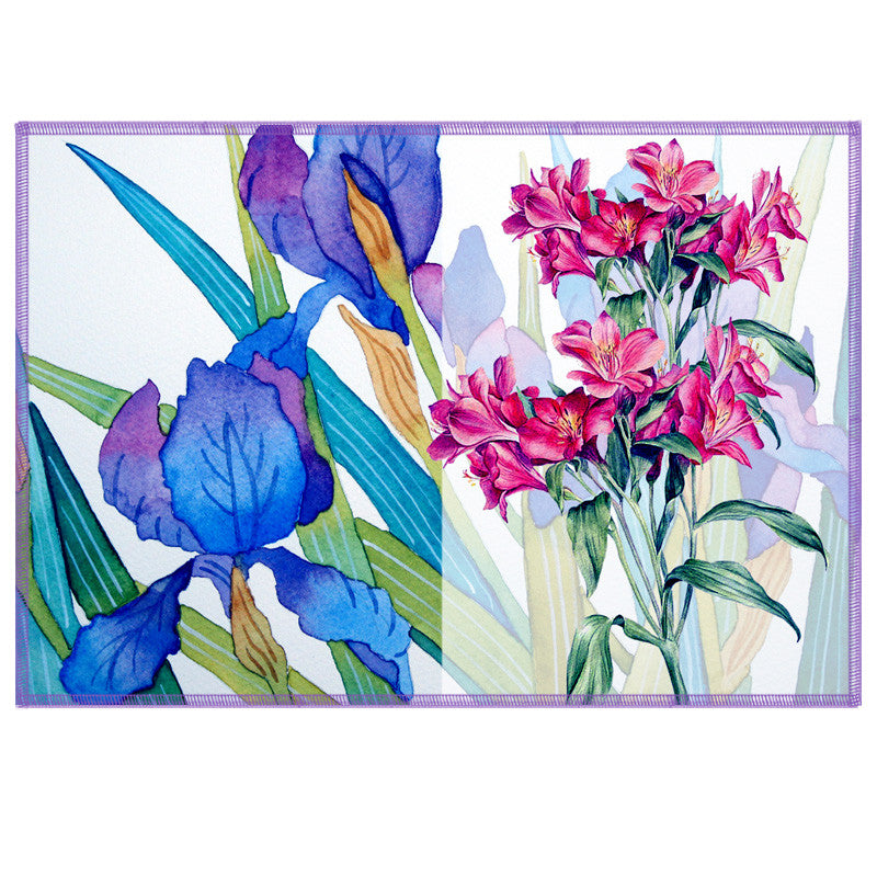 Leaf Designs Indigo & Pink Summer Floral Table Mats - Set Of 6