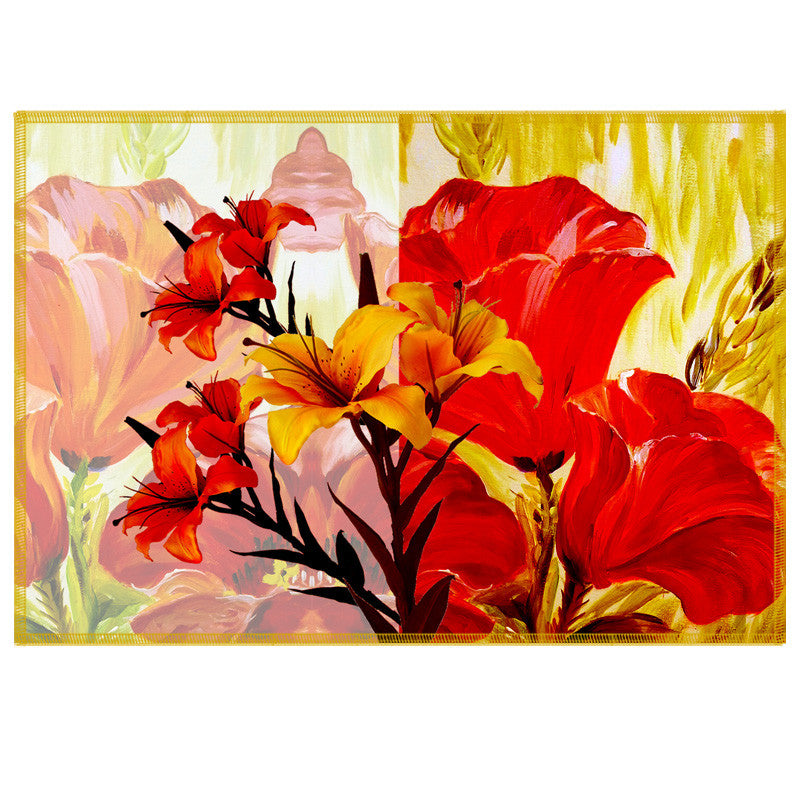 Leaf Designs Bright Red & Yellow Summer Floral Table Mats - Set Of 6