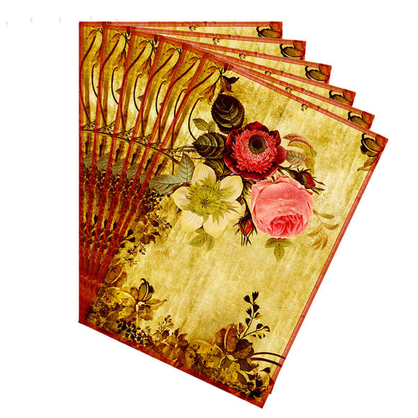 Leaf Designs Pink & Yellow Vintage Table Mats - Set Of 6