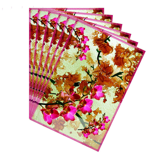 Leaf Designs Hot Pink & Rust Summer Floral Table Mats - Set Of 6