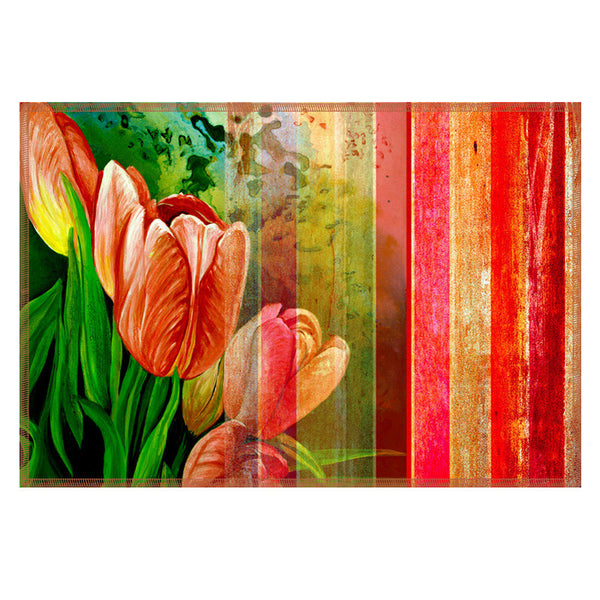 Leaf Designs Bright Red Stripes Table Mats - Set of 6
