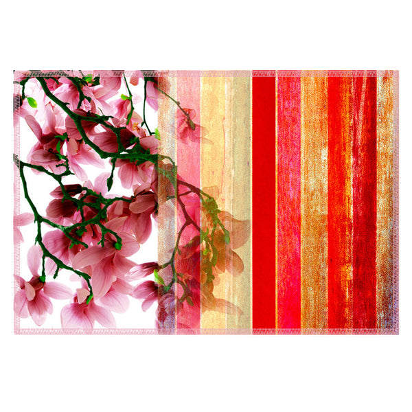 Leaf Designs Brick Red Stripes Table Mats - Set of 6