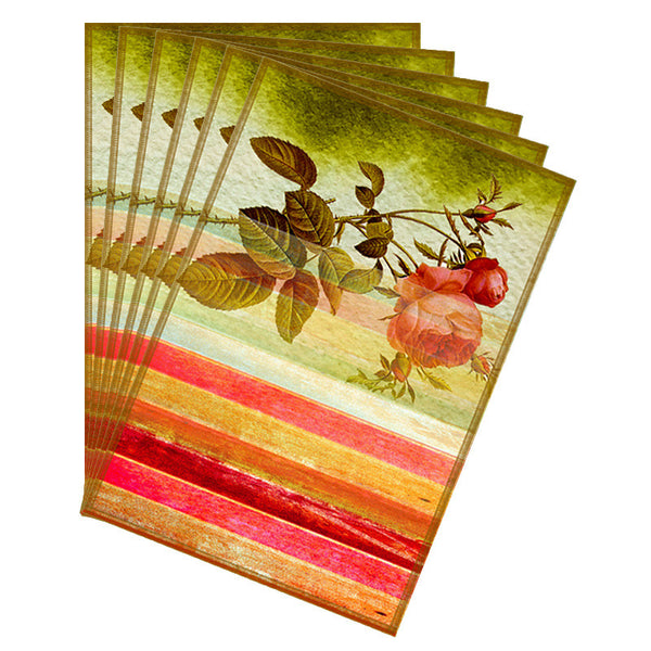 Leaf Designs Pink & Red Stripes Table Mats - Set of 6