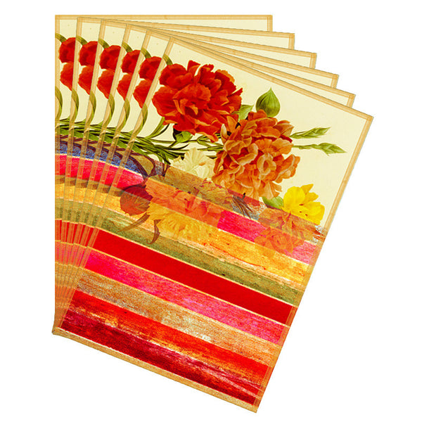 Leaf Designs Bold Red Stripes Table Mats - Set of 6