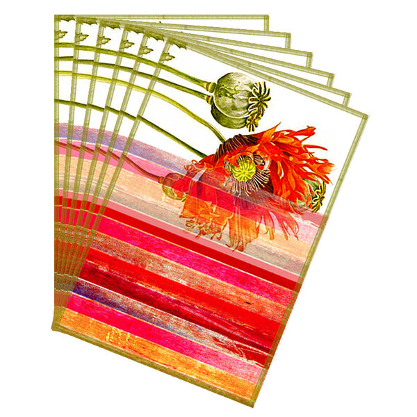 Leaf Designs Beige & Red Stripes Table Mats - Set of 6