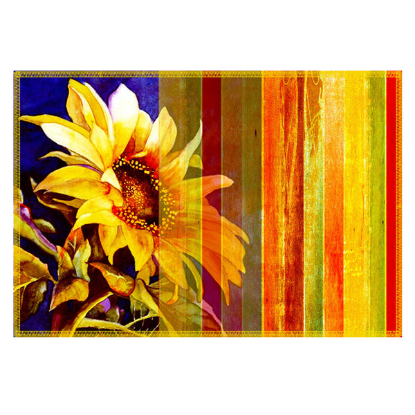Leaf Designs Sunshine Yellow Stripes Table Mats - Set of 6