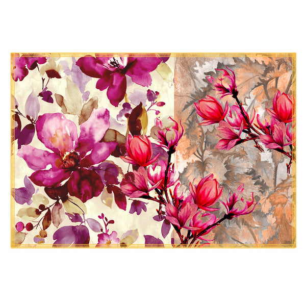 Leaf Designs Pink Flowery Fabric Table Mats - Set Of 6
