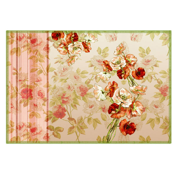 Leaf Designs Peach Flowery Fabric Table Mats - Set Of 6