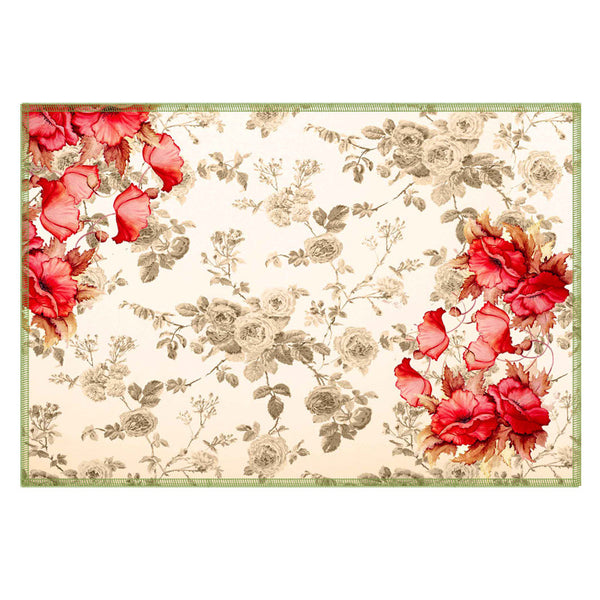 Leaf Designs Cream Flowery Fabric Table Mats - Set Of 6