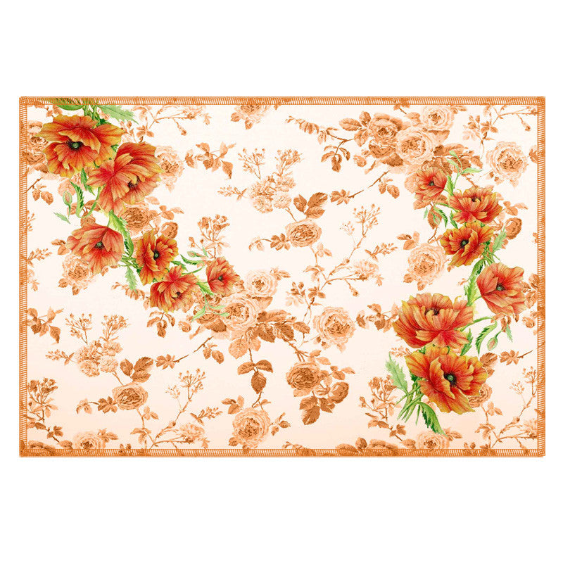 Leaf Designs Light Brown Flowery Fabric Table Mats - Set Of 6