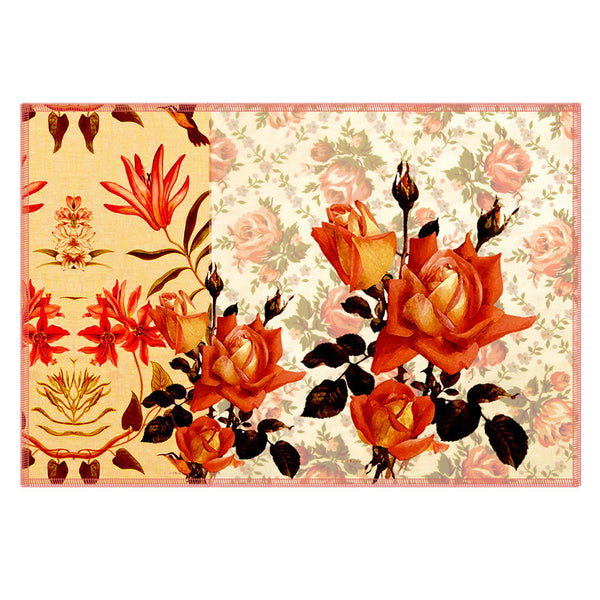 Leaf Designs Orange Flowery Fabric Table Mats - Set Of 6