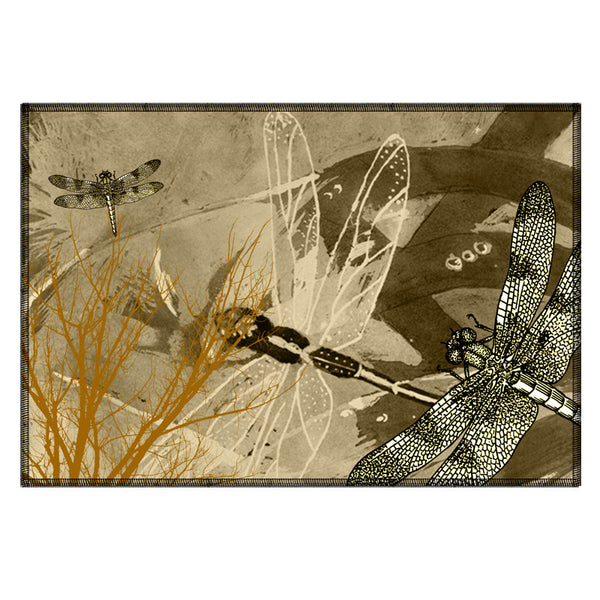 Leaf Designs Olive Dragonfly Fabric Table Mats - Set Of 6