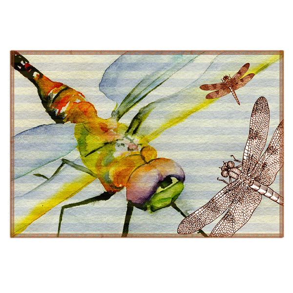 Leaf Designs Yellow Dragonfly Fabric Table Mats - Set Of 6