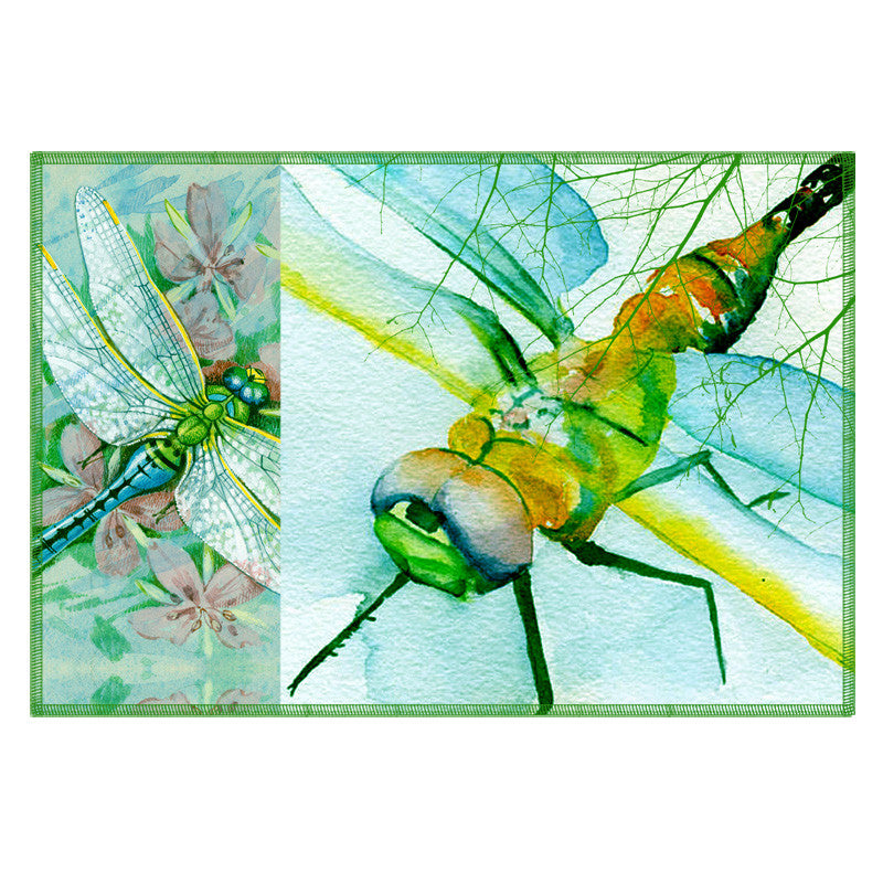 Leaf Designs Blue Dragonfly Fabric Table Mats - Set Of 6