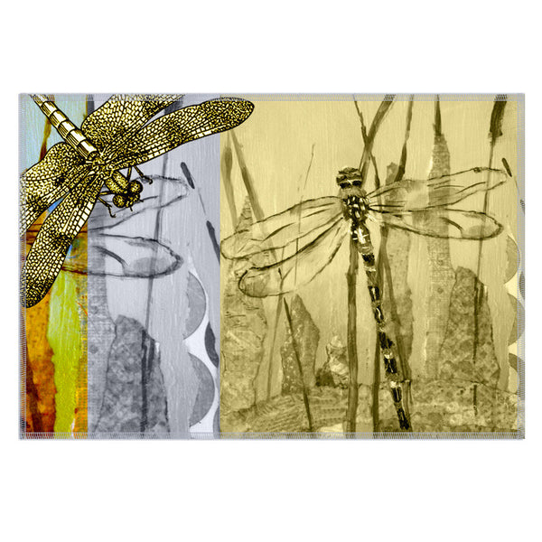 Leaf Designs Lemon Dragonfly Fabric Table Mats - Set Of 6