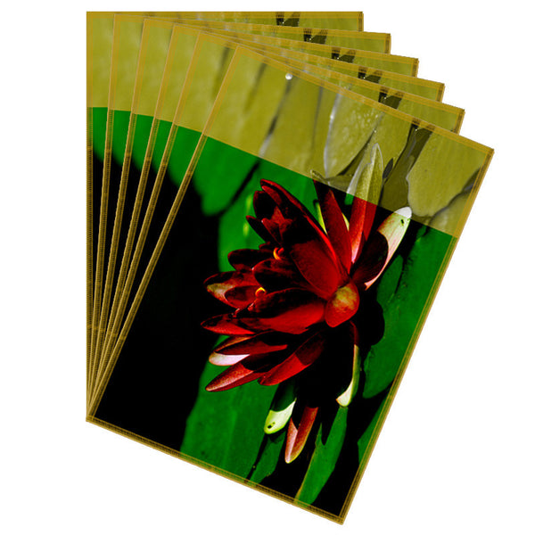 Leaf Designs Red & Green Flowery Fabric Table Mats - Set Of 6