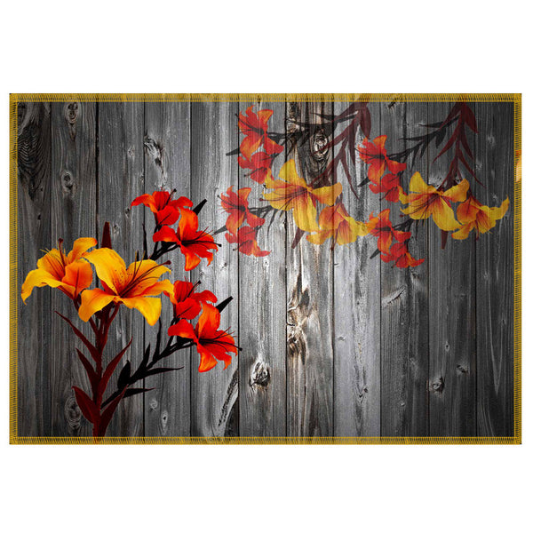 Leaf Designs Grey & Yellow Table Mat - Set Of 6