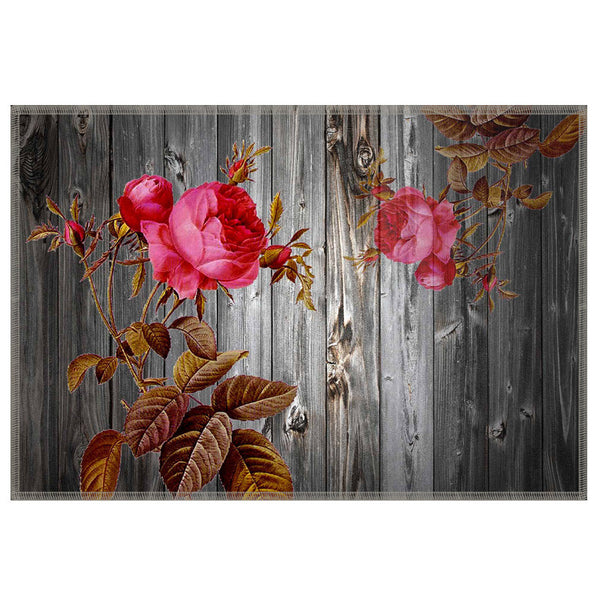 Leaf Designs Grey & Light Pink Table Mat - Set Of 6