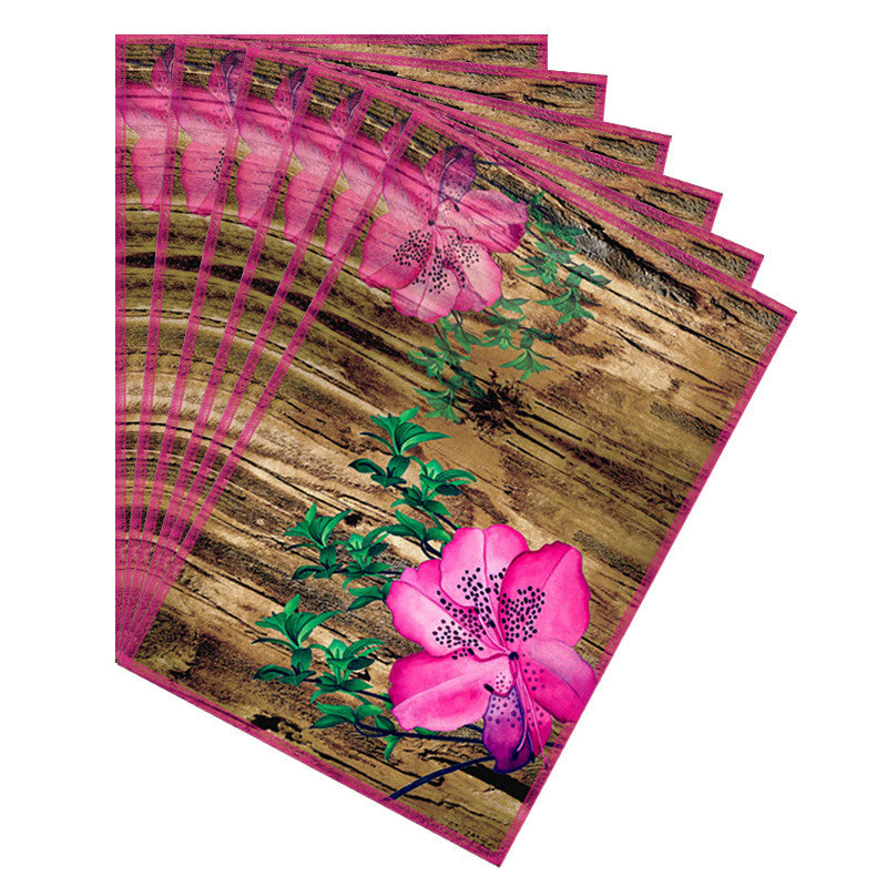 Leaf Designs Natural & Pink Table Mat - Set Of 6