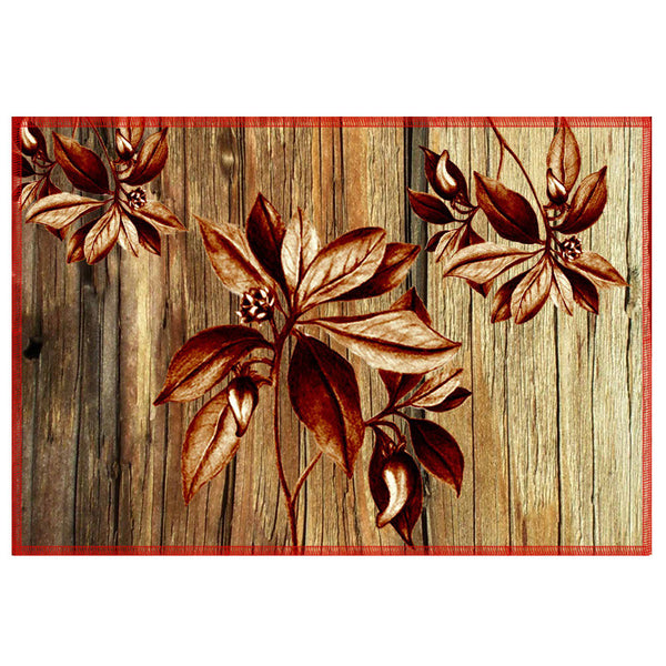 Leaf Designs Natural & Brown Table Mat - Set Of 6