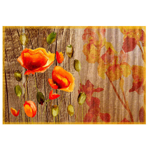Leaf Designs Natural Yellow & Orange Table Mat - Set Of 6