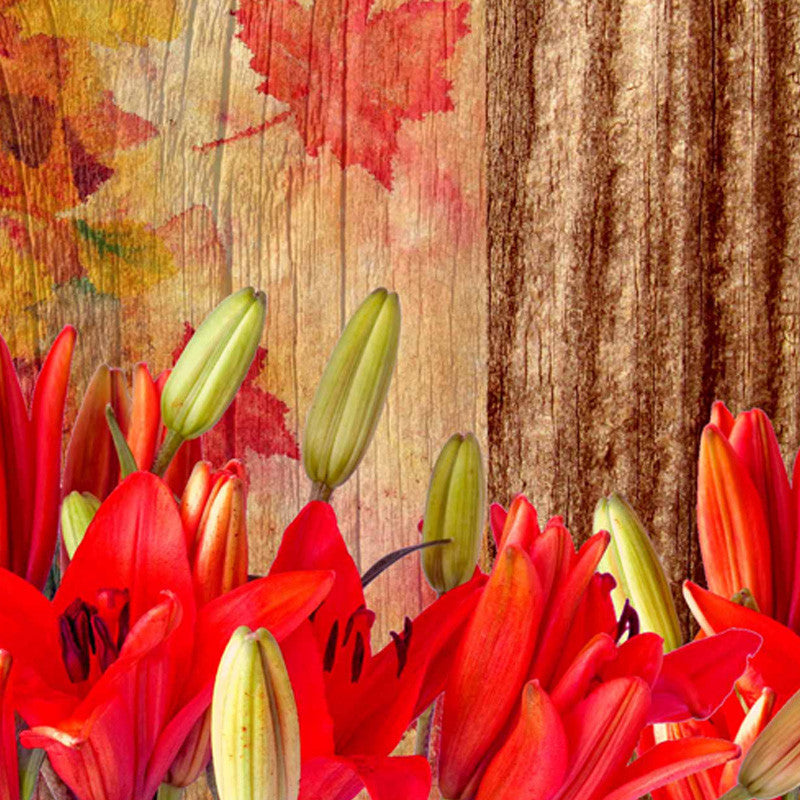 Leaf Designs Natural Green & Red Table Mat - Set Of 6