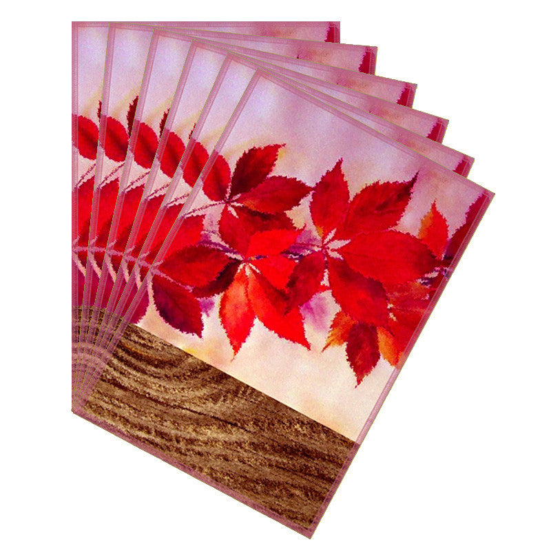 Leaf Designs Natural Pale Pink Table Mat - Set Of 6